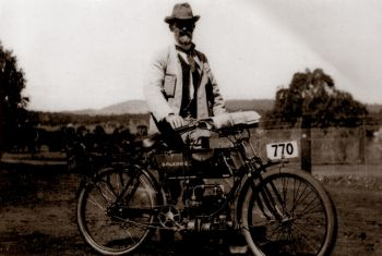 Scrivener on his bike